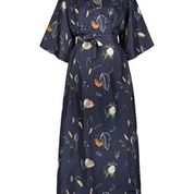 Comassionate Wrap Dress Dark Blue Front
