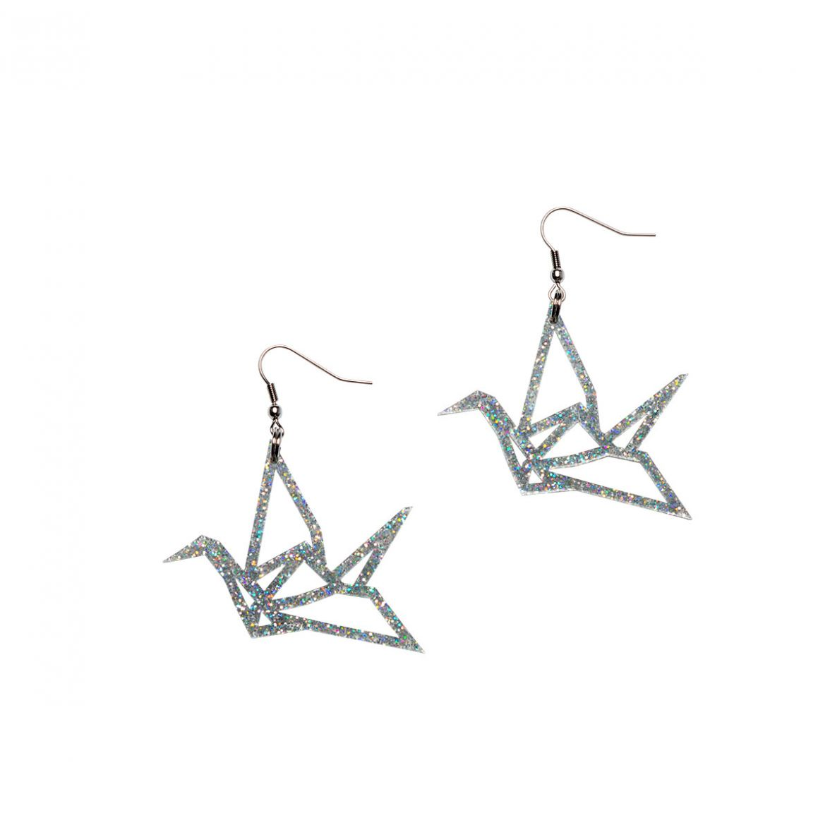 Yo Zen Swan Mini Earrings Silver Glitter